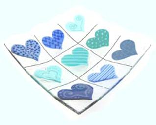 Glasschale blau / türkis mit Herz
