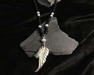 Mala Kette Engelsflügel Silber und Onyx