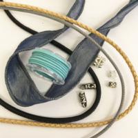 Leder-, Seiden- Chiffonbänder und Endkappe